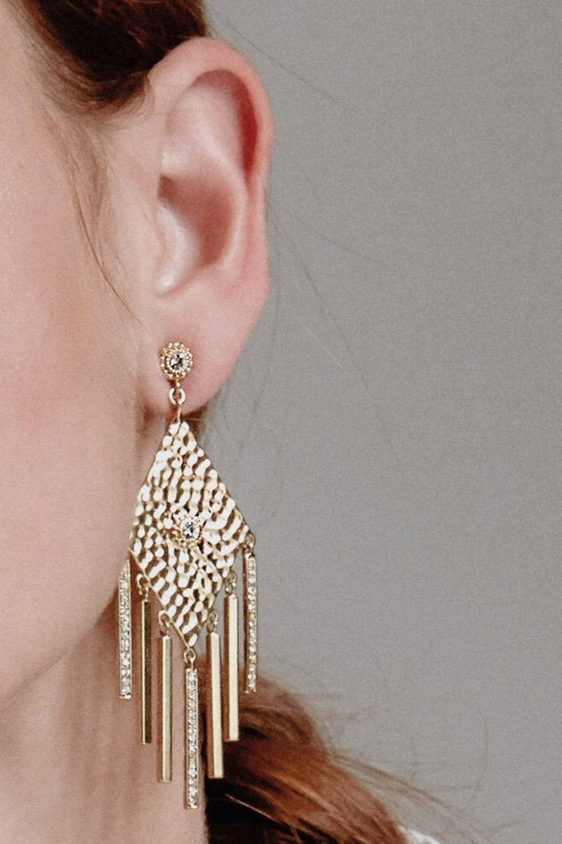 LUV AJ The Hammered Triangle Fringe Drop Earrings - Gold Jewelry | Gold| Luv Aj The Hammered Triangle Fringe Earrings - Gold Pair of hammered triangle earrings with hanging pave bars Posts are made from surgical steel so they are very hypo-allergenic Made from Brass and Swarovski Crystals Plated in Gold Front View
