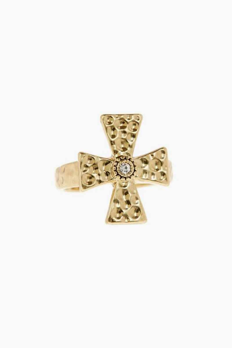 LUV AJ The Hammered Cross Signet Ring - Gold Jewelry | Gold| Luv Aj The Hammered Cross Signet Ring - Gold Cross-shaped signet ring with hammered texture Open back for easy adjustability One Size Fits All  Made from Brass and Swarvoski Crystals Plated in Gold Front View