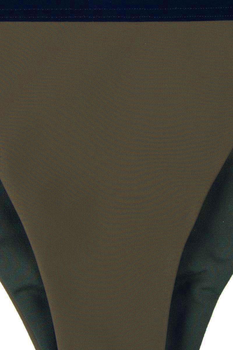 ZIGILANE HQ Color Block High Cut Bikini Bottom - Olive Green & Black Bikini Bottom | Olive Green & Black| Zigilane HQ Color Block High Cut Bikini Bottom - Olive Green & Black Color block High cut Thick, lined fabric Minimal coverage 72% Microfiber Nylon, 28% Spandex Front View