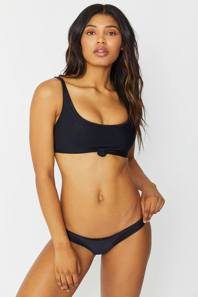 FRANKIES BIKINIS Greer Ribbed Front Knot Bikini Top - Black Bikini Top | Black| Frankies Bikinis Greer Ribbed Front Knot Bikini Top - Black * Scoop neck front knot sporty bikini top adjustable shoulder straps ribbed Front View