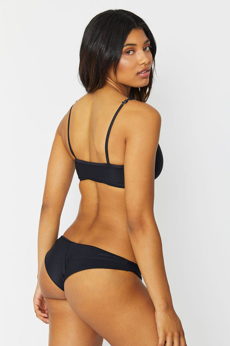FRANKIES BIKINIS Greer Ribbed Front Knot Bikini Top - Black Bikini Top | Black| Frankies Bikinis Greer Ribbed Front Knot Bikini Top - Black * Scoop neck front knot sporty bikini top adjustable shoulder straps ribbed Back View