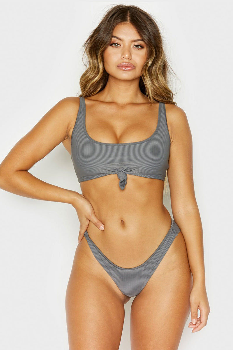 FRANKIES BIKINIS Greer Ribbed Front Knot Bikini Top - Caviar Grey Bikini Top | Caviar Grey| Frankies Bikinis Greer Ribbed Front Knot Bikini Top - Caviar Grey Scoop neck front knot sporty bikini top adjustable shoulder straps ribbed Front View