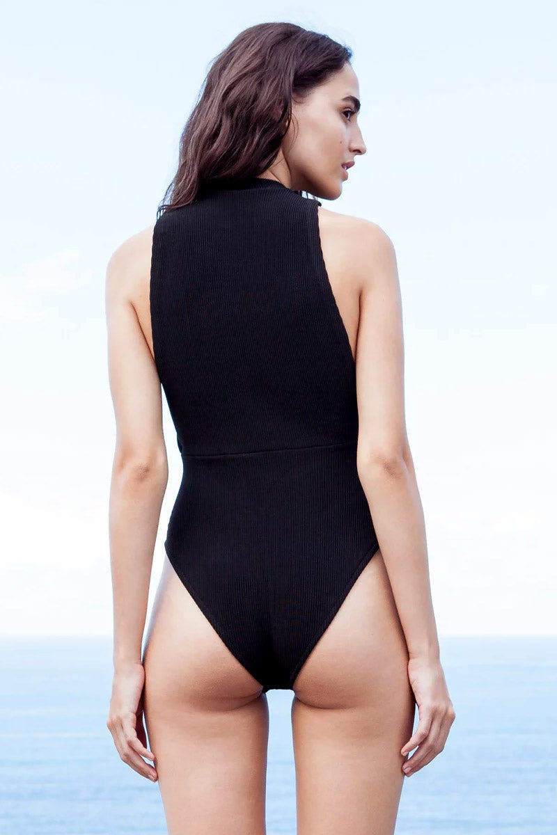 HAIGHT Kate Knit High Neck One Piece Swimsuit - Black One Piece | Black| Haight Kate Knit High Neck One Piece Swimsuit - Black High neckline  Side boob  High cut leg  Cheeky coverage  Back View