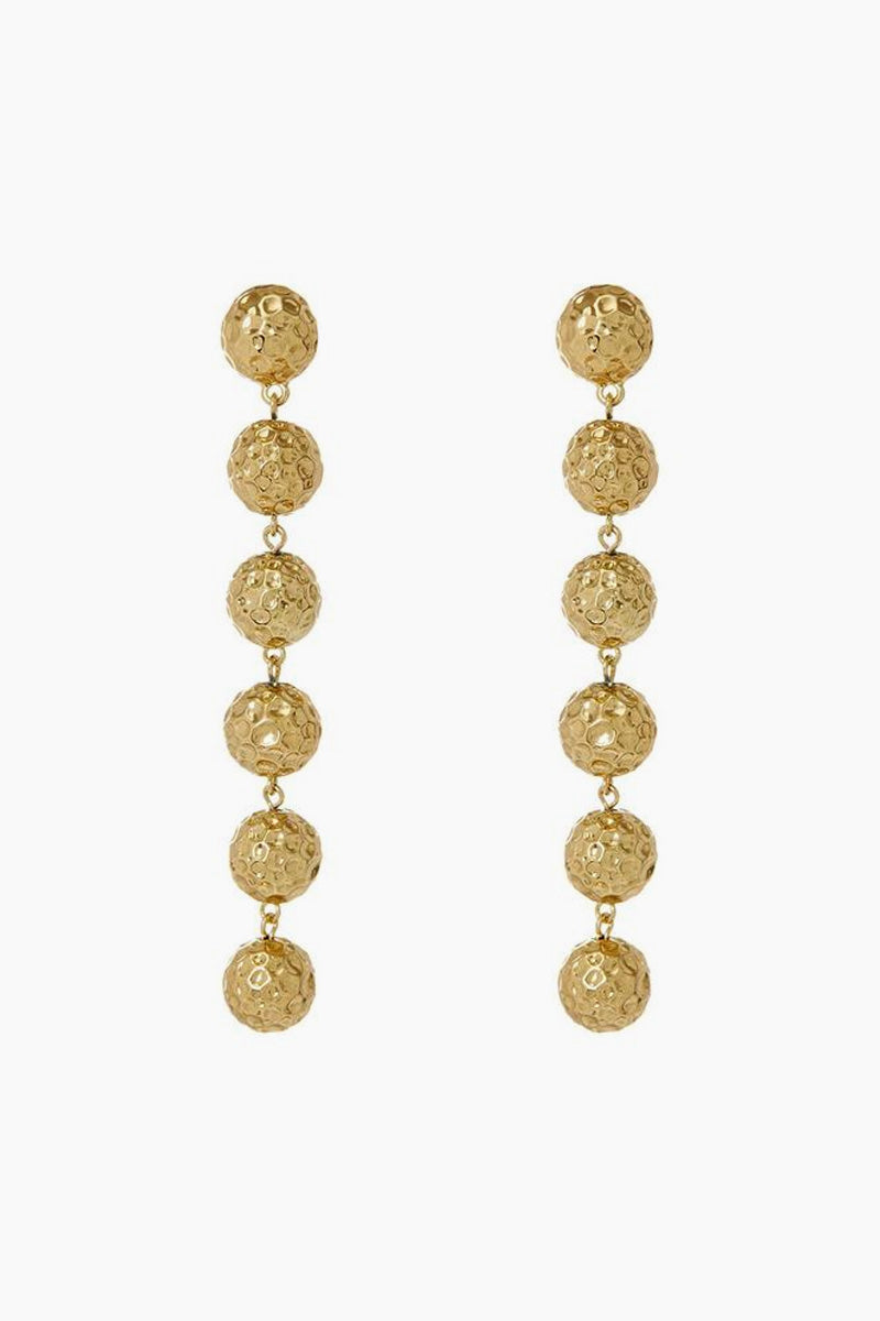 """LUV AJ The Hammered Ball Drop Earrings - Gold Jewelry   Gold  Luv Aj The Hammered Ball Drop Earrings - Gold Pair of drop earrings with medium-sized hammered balls Posts are made from surgical steel so they are very hypo-allergenic Hoops are Approx. 4"""" long Made from Brass Plated in Gold Front View"""