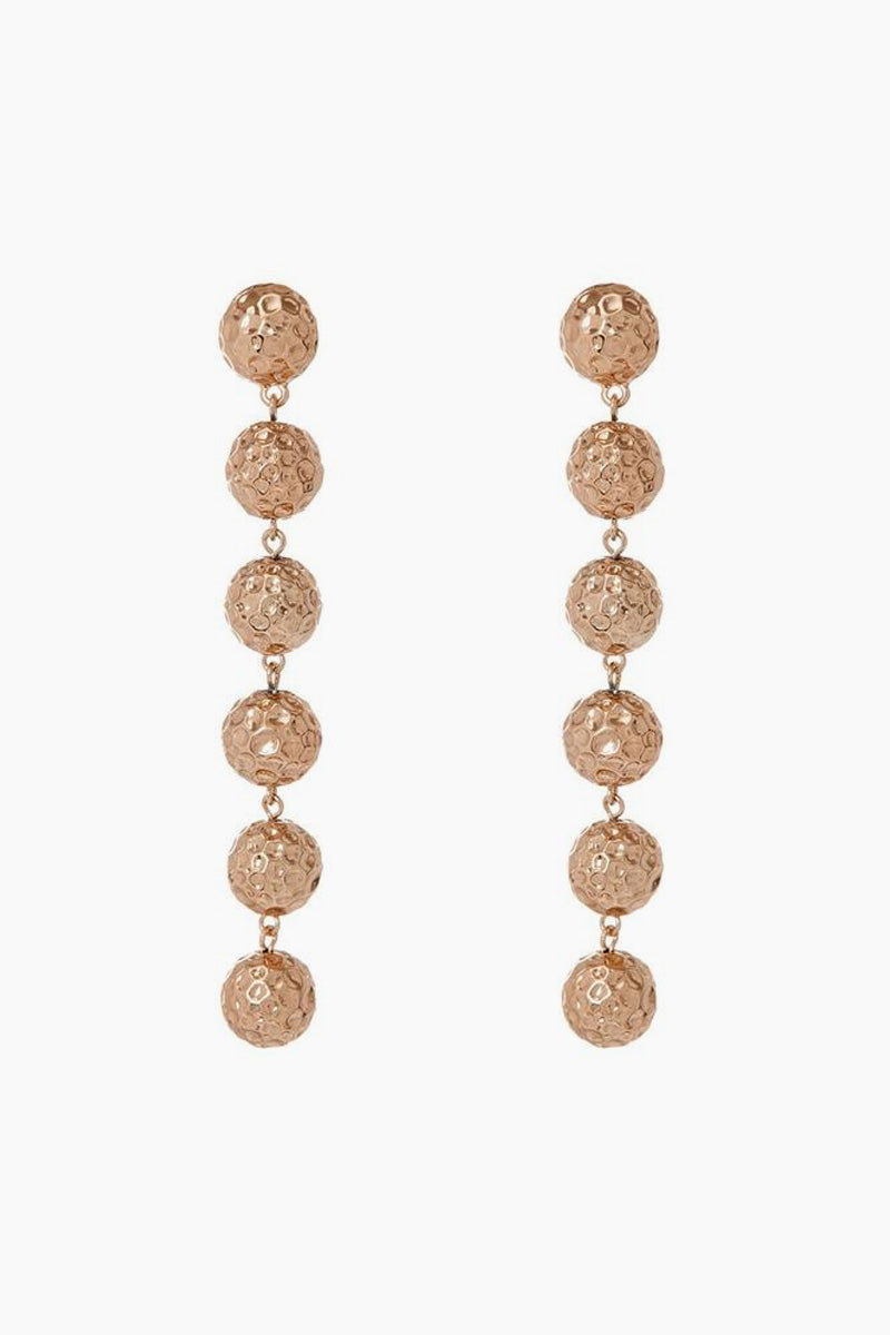"LUV AJ The Hammered Ball Drop Earrings - Rose Gold Jewelry | Rose Gold| Luv Aj The Hammered Ball Drop Earrings - Rose Gold Pair of drop earrings with medium-sized hammered balls Posts are made from surgical steel so they are very hypo-allergenic Hoops are Approx. 4"" long Made from Brass Plated in Rose Gold Front View"