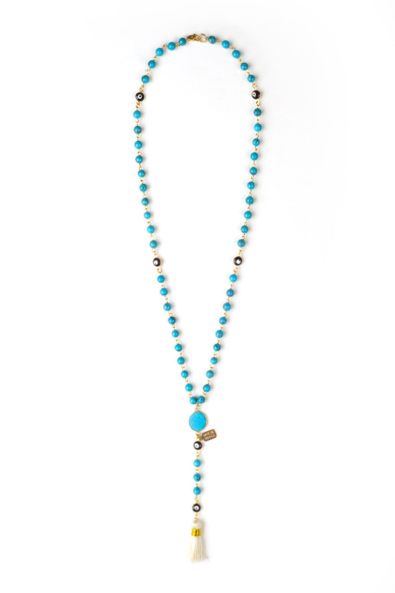 HAUS OF TOPPER Rose Lariat Necklace Jewelry | Turquoise|