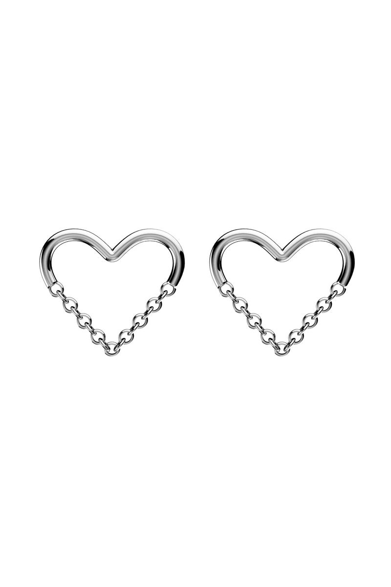 EACH JEWELS Love Chain Stud Earrings - Silver Jewelry | Silver| Each Jewels Love Chain Stud Earrings - Silver Heart stud earrings Chain creates the bottom point of the heart Chain moves when you do Silicone backings included Made in NYC Front View