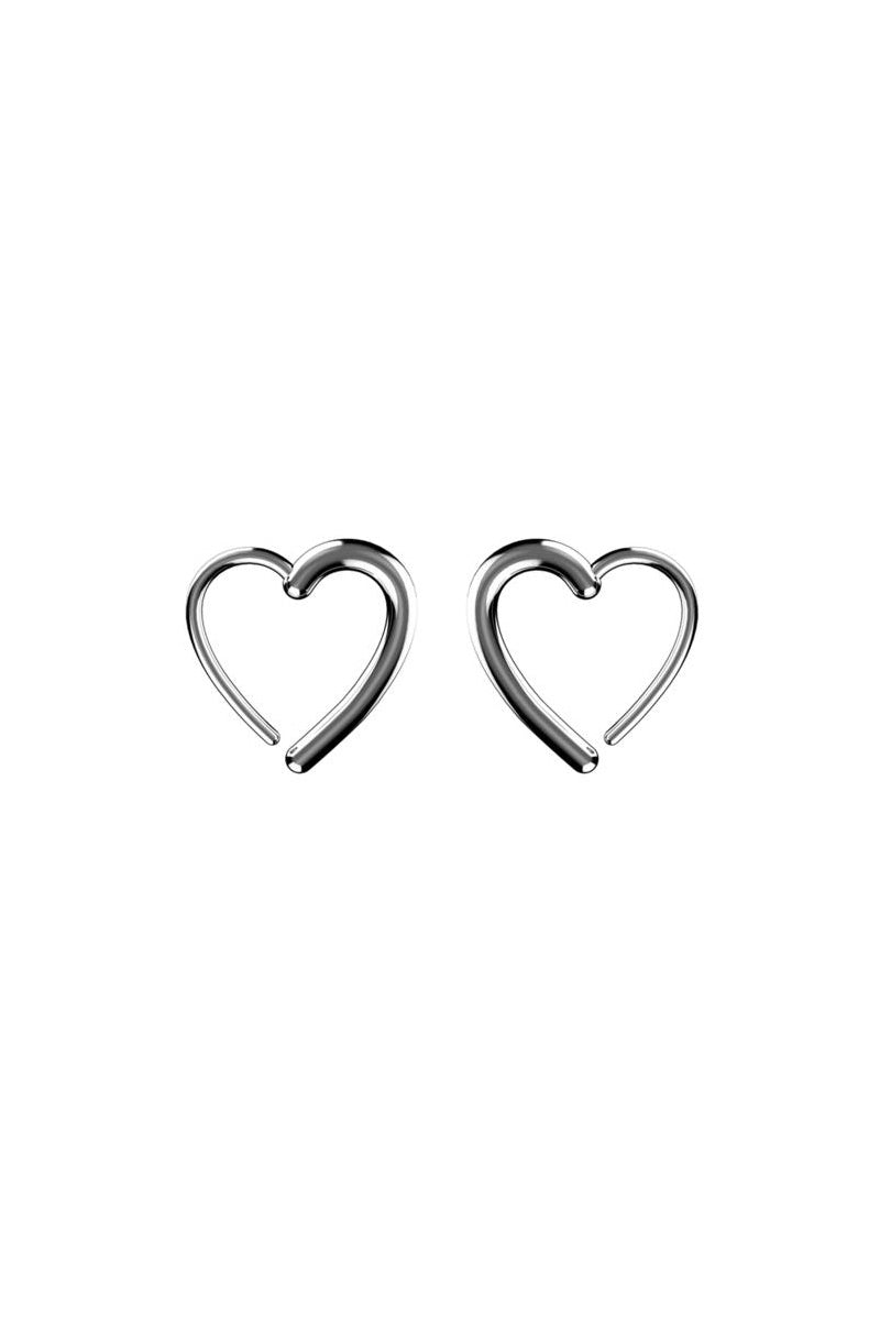 EACH JEWELS Heart Hook Earrings - Silver Jewelry | Silver| Each Jewels Heart Hook Earrings - Silver Heart shaped hook earring Thread thin part of heart through piercing Secure earrings by squeezing the point of the heart Made in NYC Front View