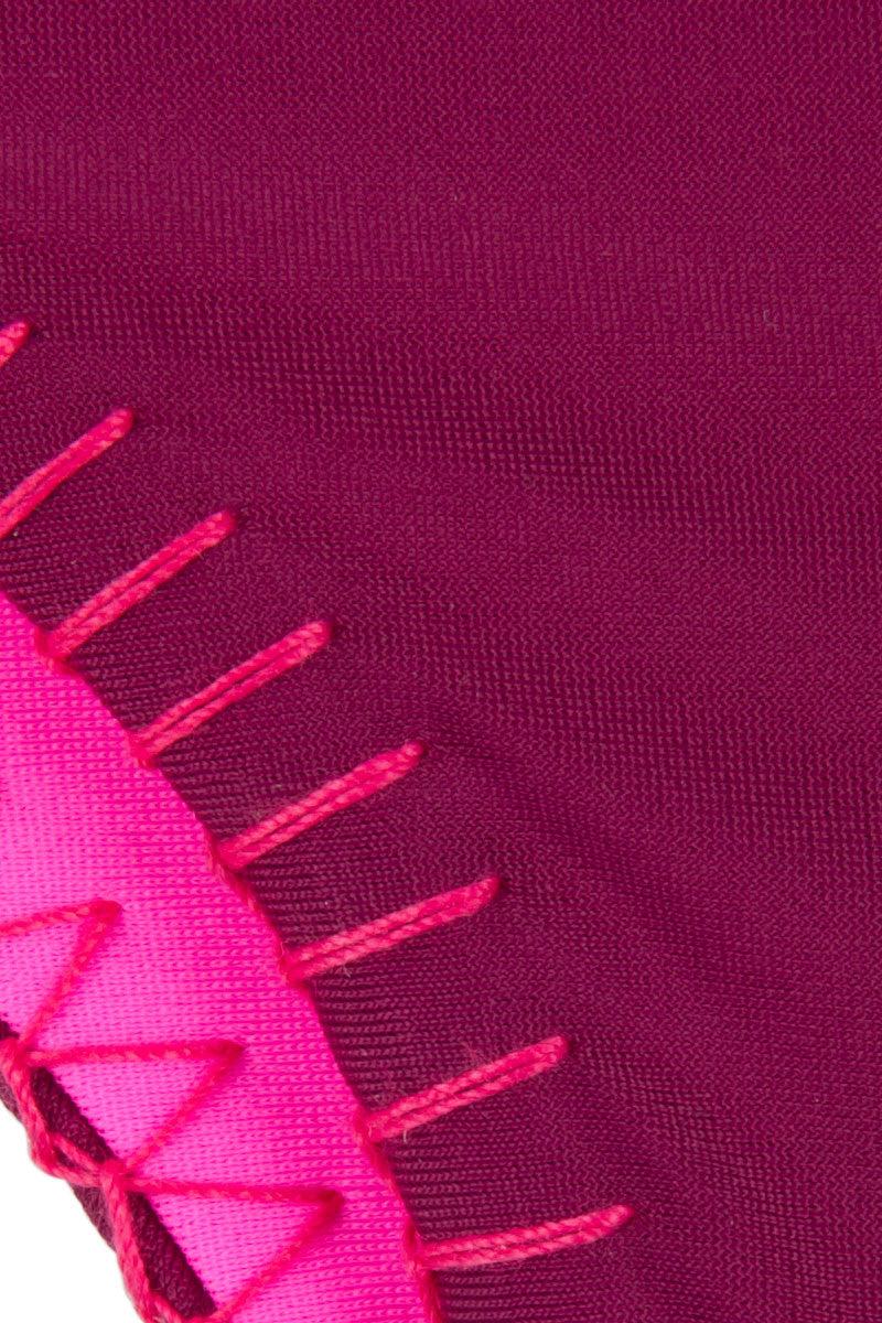 HOUSE OF AU+ORA Easy Rider Crochet Trim Cheeky Bikini Bottom - Hot Pink Bikini Bottom | Syrah|