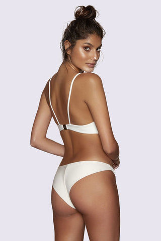 KOPPER & ZINK Tobi Lace Up Front Bikini Top - Cream Bikini Top | Cream| Kopper & Zink Tobi Lace Up Front Bikini Top - Cream. Features:  Lightweight neoprene bikini top  Supportive fabric  Lace-up feature with rose gold hardware  Lightweight removable cups for shape