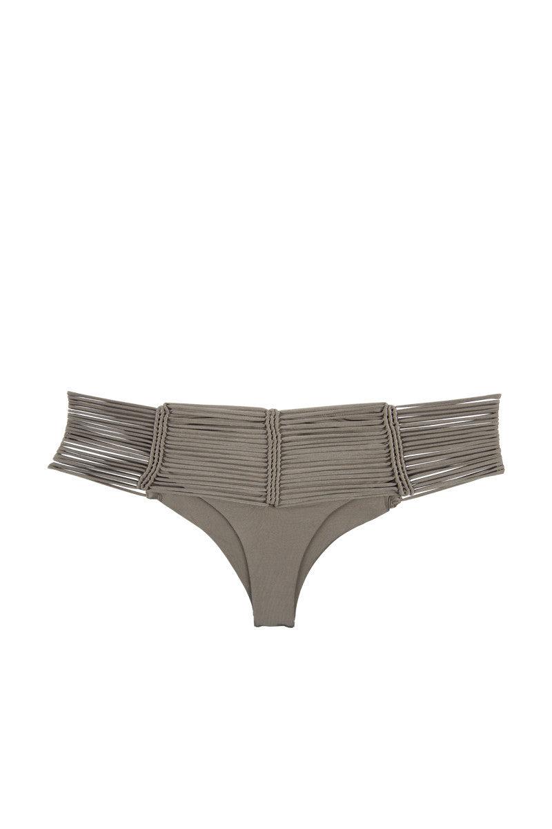 INDAH Fallen Macrame Cheeky Bikini Bottom - Taupe Bikini Bottom   Taupe  Indah Fallen Macrame Bottom