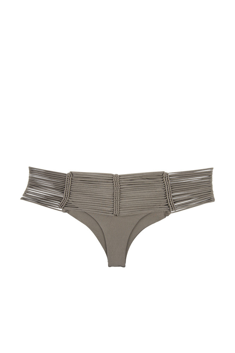 INDAH Fallen Macrame Cheeky Bikini Bottom - Taupe Brown Bikini Bottom | Taupe Brown| Indah Fallen Macrame Cheeky Bikini Bottom - Taupe Brown Mid-rise cheeky taupe bikini bottom with unique multi-string knot detail. Macrame-inspired cords meet in knotted vertical lines at front and back. Wide multi-strap waistband smoothes your curves and gives the bohemian bikini bottom a sexy finish. Sleek black lining ensures you're fully covered where you need to be under the peek-a-boo strands. Super cheeky Brazilian butt Front View