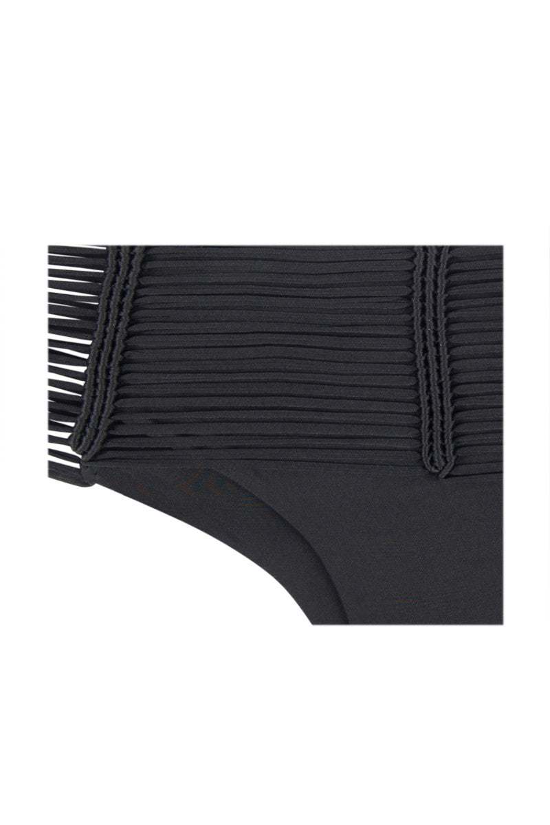 INDAH Fallen Macrame Bottom - Black Bikini Bottom   Black  Indah Fallen Macrame Bottom