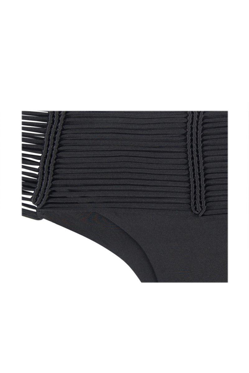 INDAH Fallen Macrame Cheeky Bikini Bottom - Black Bikini Bottom | Black| Indah Fallen Macrame Bottom