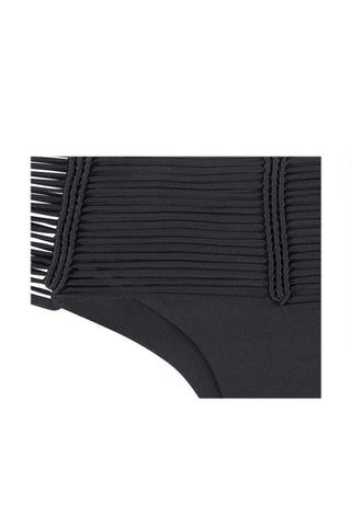 INDAH Fallen Macrame Cheeky Bikini Bottom - Black Bikini Bottom | Black| Indah Fallen Macrame Cheeky Bikini Bottom - Black Mid-rise cheeky black bikini bottom with unique multi-string knot detail. Macrame-inspired cords meet in knotted vertical lines at front and back. Wide multi-strap waistband smoothes your curves and gives the bohemian bikini bottom a sexy finish. Sleek black lining ensures you're fully covered where you need to be under the peek-a-boo strands. Super cheeky Brazilian butt Front View