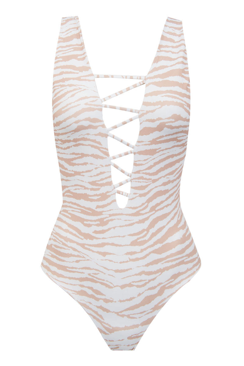 INDAH Rainey One Piece - White Tiger One Piece | White Tiger| Indah Rainey One Piece
