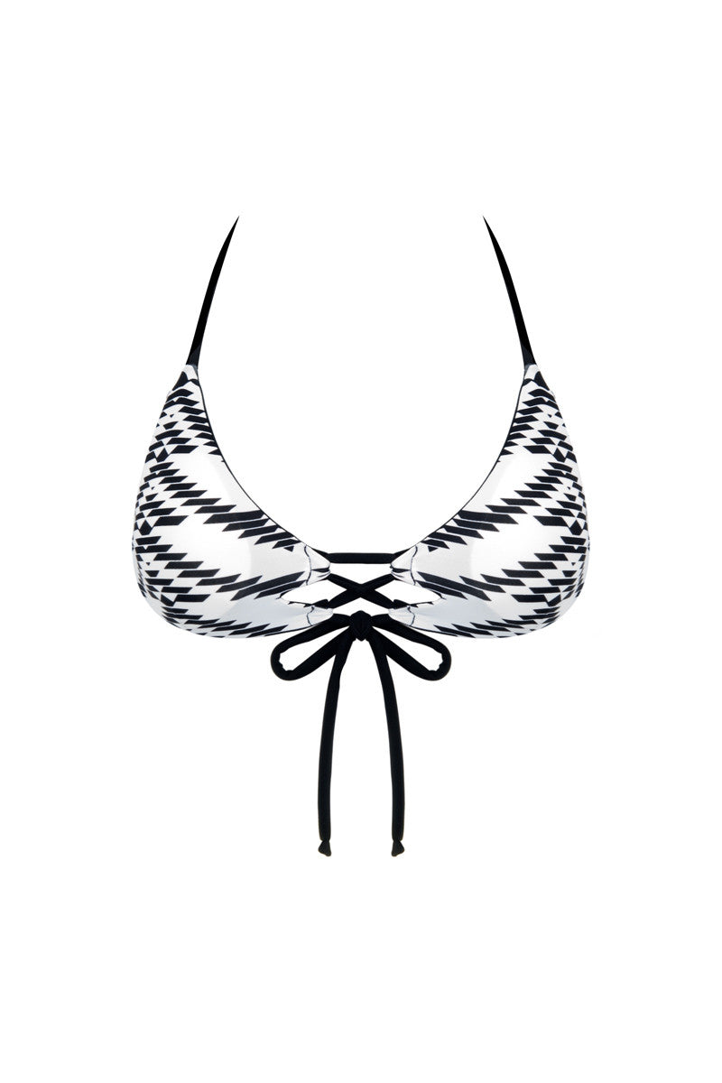 KHONGBOON Indre Reversible Top Bikini Top | Black and White/Black|