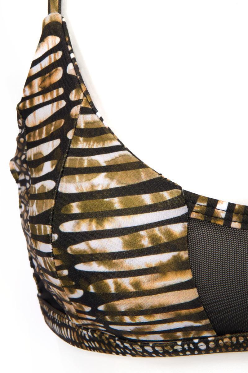 ISSA DE' MAR Kaili Mesh Paneled Bikini Top - Pebble Bikini Top | Pebble| Issa De' Mar Kaili Mesh Bikini Top