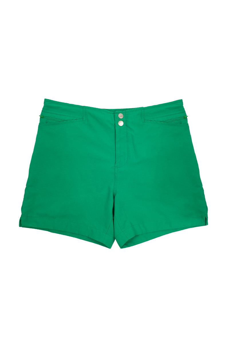 "J.LIN Yachter Mid Length Swim Trunks - Crisp Green / Classic Navy Mens Swim | Crisp Green|J Lin Yachter Mid Length Swim Trunks - Crisp Green / Classic Navy. Flat Lay View. Mid-length  Slim Tailor Fit  Double snap front  Two front pockets, one invisible front picket  One zip back pocket  1"" side slits  White stretch lining  100% Polyester"