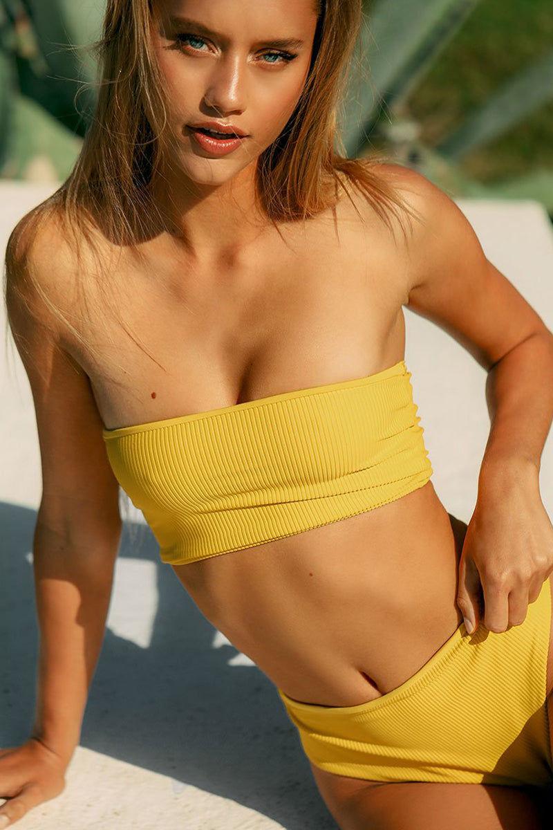 FRANKIES BIKINIS Jenna High Waist Cheeky Bikini Bottom - Amber Yellow Bikini Bottom | Amber Yellow|  Frankies Bikinis Jenna High Waist Cheeky Bikini Bottom - Amber Yellow High Waist  High Cut  Cheeky Coverage Front View