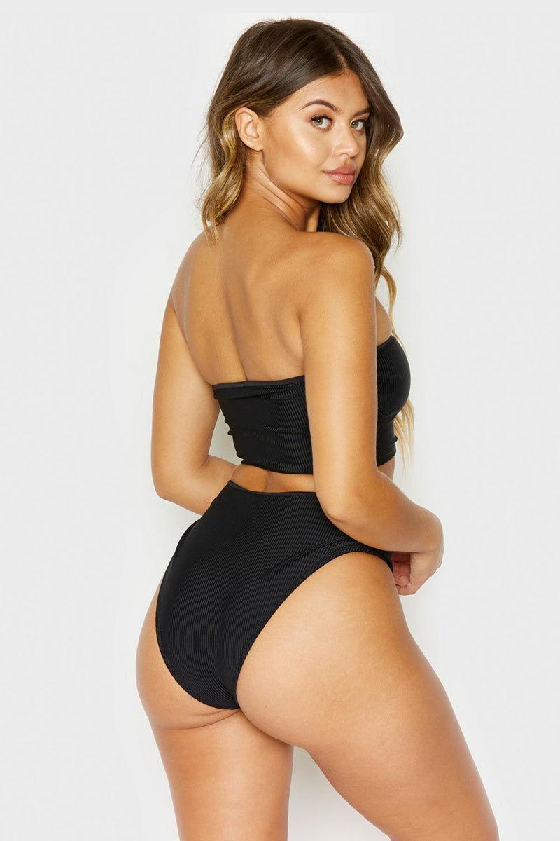 FRANKIES BIKINIS Jenna Strapless Bandeau Bikini Top - Black Bikini Top   Black  Frankies Bikinis Jenna Bandeau Bikini Top - Black Strapless Bandeau  Back View