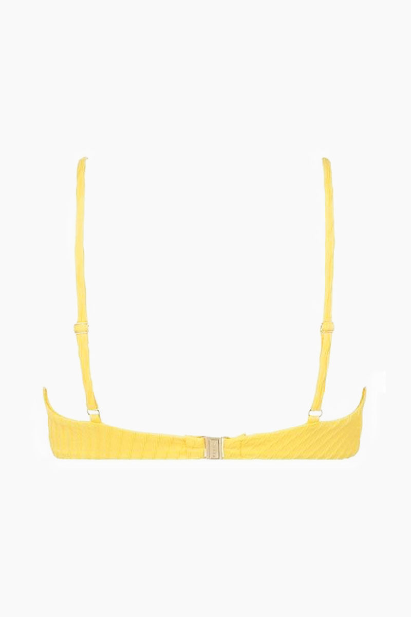 FELLA Julius V Neck Bikini Top - Lemon Bikini Top | Lemon|Julius Top Front View - Features:  Italian Textured Lycra Back clasp Fits true to size