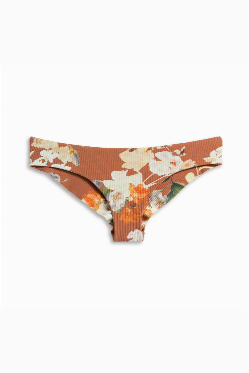 BOYS + ARROWS Kiki Mid Rise Bikini Bottom - Dirty Dancing Bikini Bottom | Dirty Dancing| Boys + Arrows Kiki Low Rise Bikini Bottom - Dirty Dancing Orange low-rise hipster-style cheeky bikini bottom in floral print. Seamless sides offer ultimate comfort and a wide waistband keeps the bottom in place. Front View