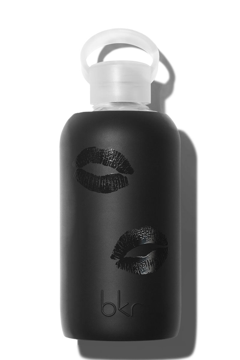 "BKR Kissed Jet Bottle - 500ml Accessories | Jet| BKR Kissed Jet Bottle - 500ml Perfect for Everyday, In the Car, Gym Time.  500mL/16oz. 7.9"" Tall, 3.1"" Wide, 0.8"" Opening Weighs Just Under 1lb, With Water ~ 2lb Small Opening for No-Spill Sipping Glass + Silicone Bottle No Leak Cap BPA-Free, Phthalate-Free Plastic Fits in Most Cup Holders Dishwasher Safe On Top Rack  Store With Cap Off Do Not Freeze or Microwave Front View"