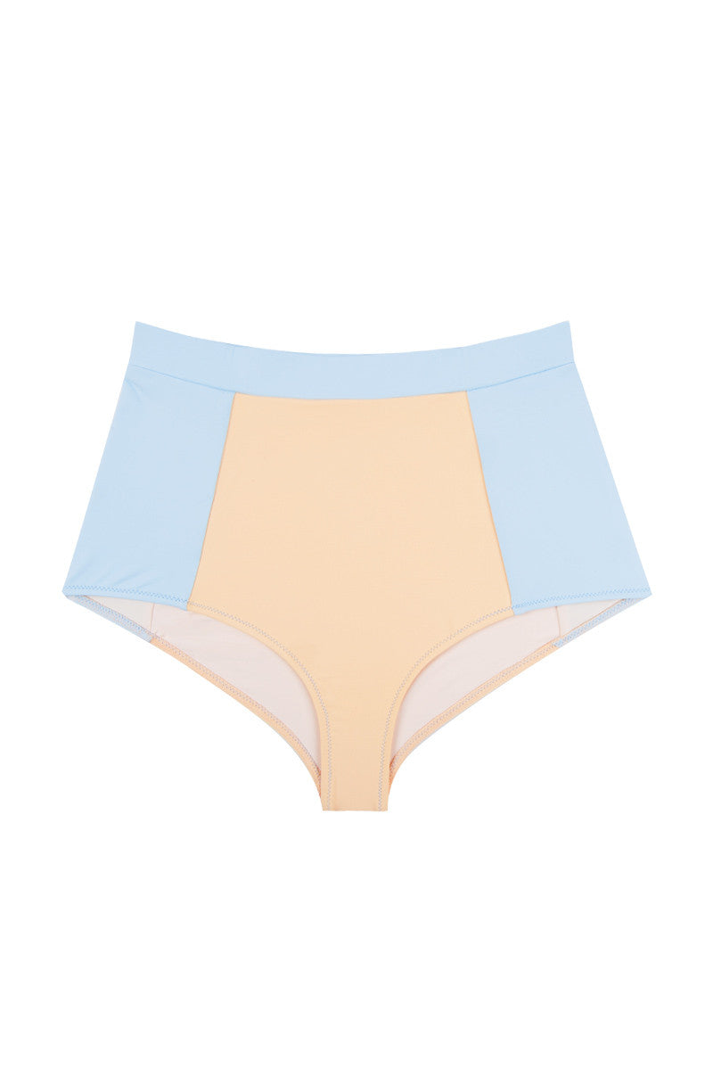 KORE Athena Color Block High Waist Bikini Bottom - Peach Orange/Sky Blue Bikini Bottom   Peach Orange/Sky Blue  Kore Athena Color Block High Waist Bikini Bottom - Peach Orange/Sky Blue High-waisted wide waistband moderate bikini bottom with classic color blocking. Playful peaches and cream-inspired color blocked detailing contours your figure for a slimmed-down silhouette. Wide, supportive waistband flatters the high-rise cut that defines your waistline. Full rear cut shows off your curves while providing moderate coverage. Front View