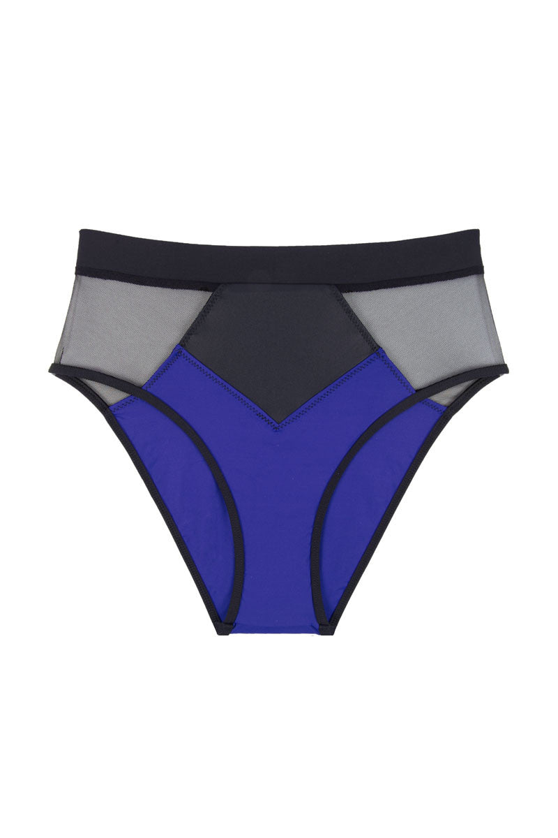KORE Pyramid Mesh Color Block High Waist Bikini Bottom  - Ultraviolet Blue/Black Bikini Bottom | Ultraviolet Blue/Black|High-waisted color blocked mesh inset cheeky bikini bottom in classic black. Indigo blue color blocked panels at front and back contour your figure while adding a chic pop of color. The high-waisted cut creates a retro-inspired silhouette and defines your waistline. Classic black mesh inset geometric panels at the sides show sultry peekaboos of skin. Moderate rear cut shows off your curves while providing cheeky coverage. Front View