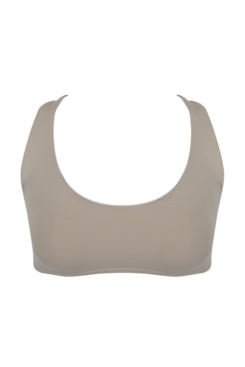 KORE Alexa Sporty Scoop Neck Bikini Top - French Vanilla Bikini Top | French Vanilla| KORE Alexa Sporty Scoop Neck Bikini Top - French Vanilla  Front View