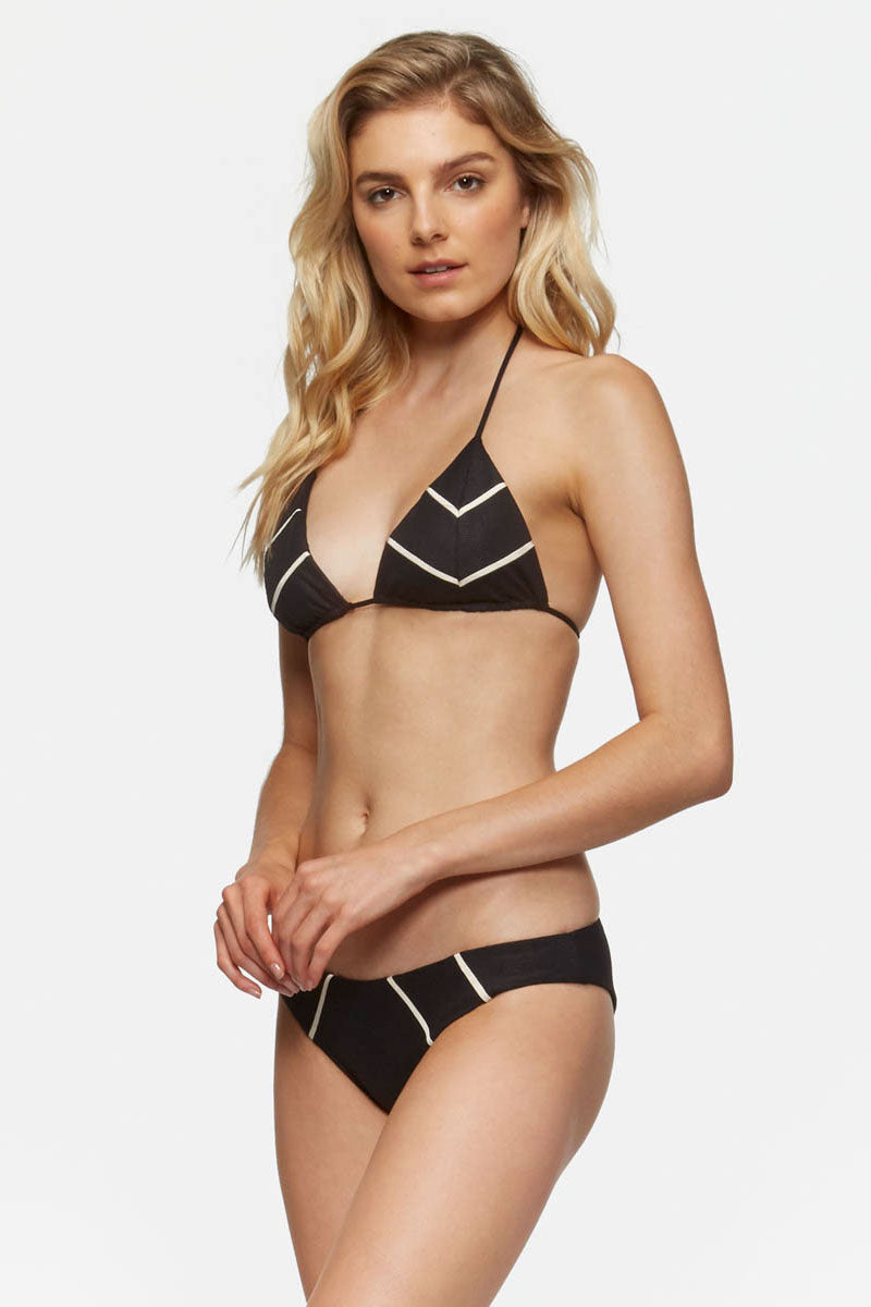 TAVIK Lea Top - Glossy Pique Bikini Top | Glossy Pique| Tavik Lea Top - Glossy Pique Jacquard Textured Bikini Top Cream Chevron Stripes Adjustable Halter Ties Removable Padding UPF 50