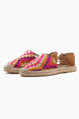 CHILA BAGS Lebron Lace Up Shoes - Multicolor Print Shoes | Multicolor Print| Chila Bags Lebron Lace Up Shoes - Multicolor Print Closed toe shoes with multicolor print of magenta, orange & purple Tan leather heel Made with natural leather Lace up wrap around straps Handcrafted in Colombia Front View