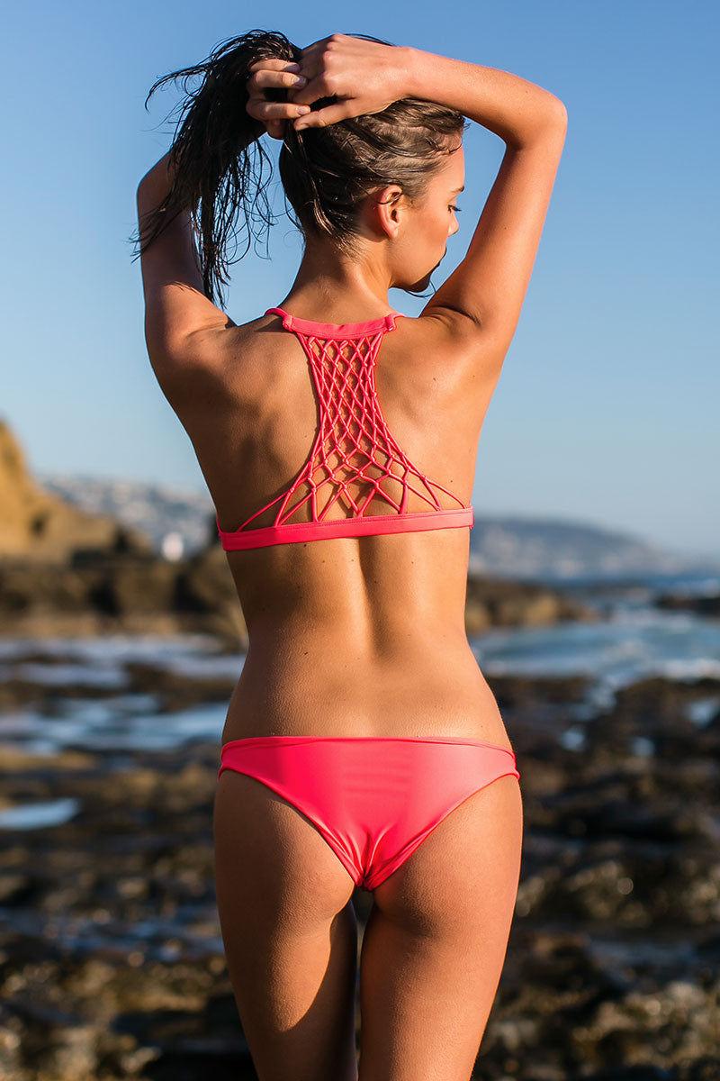 MIKOH Miyako Minimal Bikini Bottom - Tropical Pink Bikini Bottom | Tropical Pink| Mikoh Miyako Minimal Bikini Bottom - Tropical Pink Cheeky coverage Low rise Seamless Fully lined 80% Nylon, 20% Spandex Back View