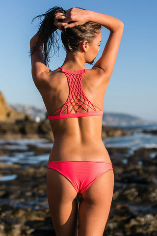 MIKOH Miyako Minimal Bikini Bottom - Tropical Pink Bikini Bottom | Tropical Pink| Mikoh Miyako Minimal Bikini Bottom - Tropical Pink Cheeky coverage Low rise Seamless Fully lined 80% Nylon, 20% Spandex Back View