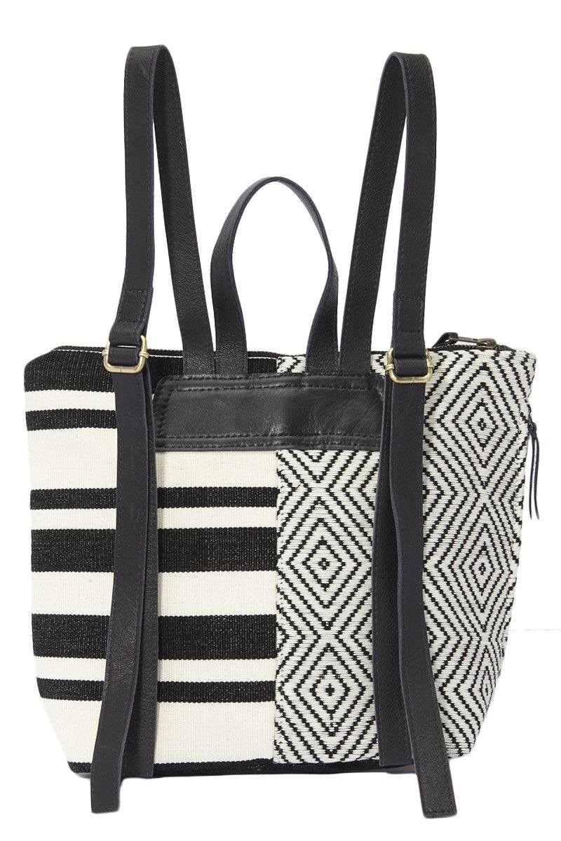 Mercado Global Mini Lorena Backpack - Black Striped Bag | Black Striped| Mercado Global Mini Lorena Backpack
