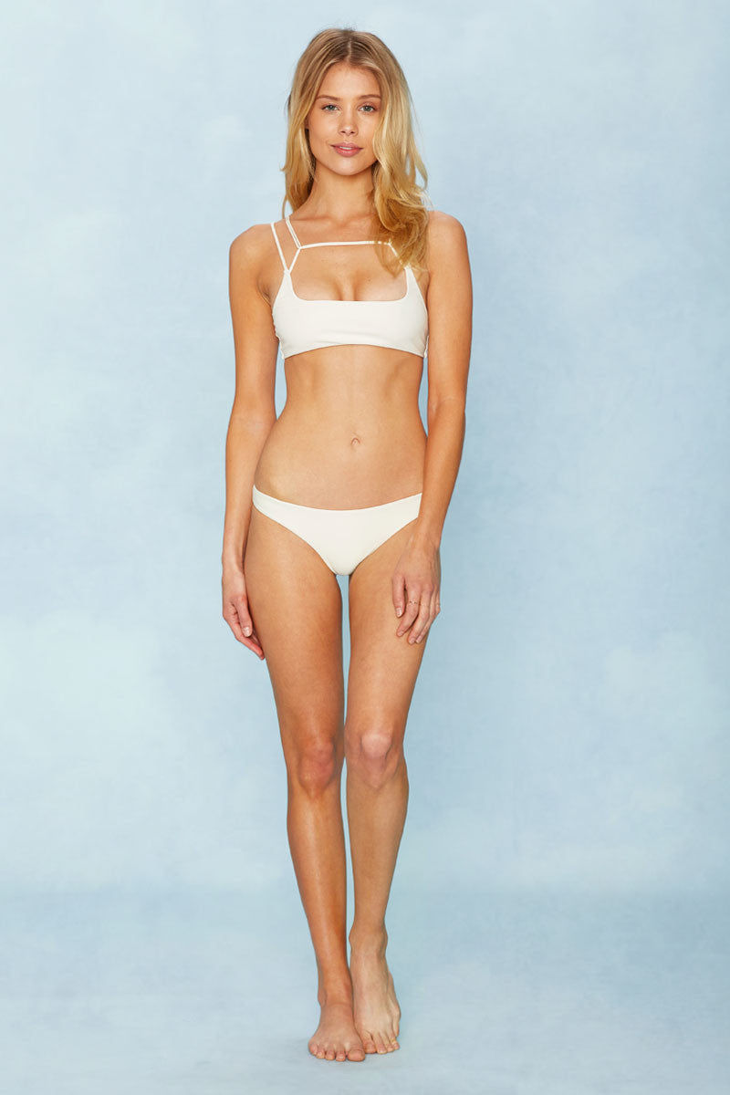 MIKOH Kapa'a Top - Bone Bikini Top | Bone| MIKOH Kapa'a Top Front View Square Neckline Multi-Strap Design at Front Wide Back Band Seamless Hardware-Free Double Lined As Seen on Whitney Port