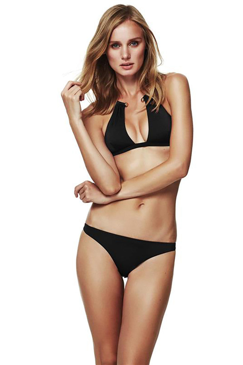 MOEVA Hayley Low Rise Full Bikini Bottom - Black Bikini Bottom | Black| MOEVA Hayley Low Rise Full Bikini Bottom - Black Black full coverage bikini bottoms creates a classic silhouette that flatters your curves. Laid back low rise Front View