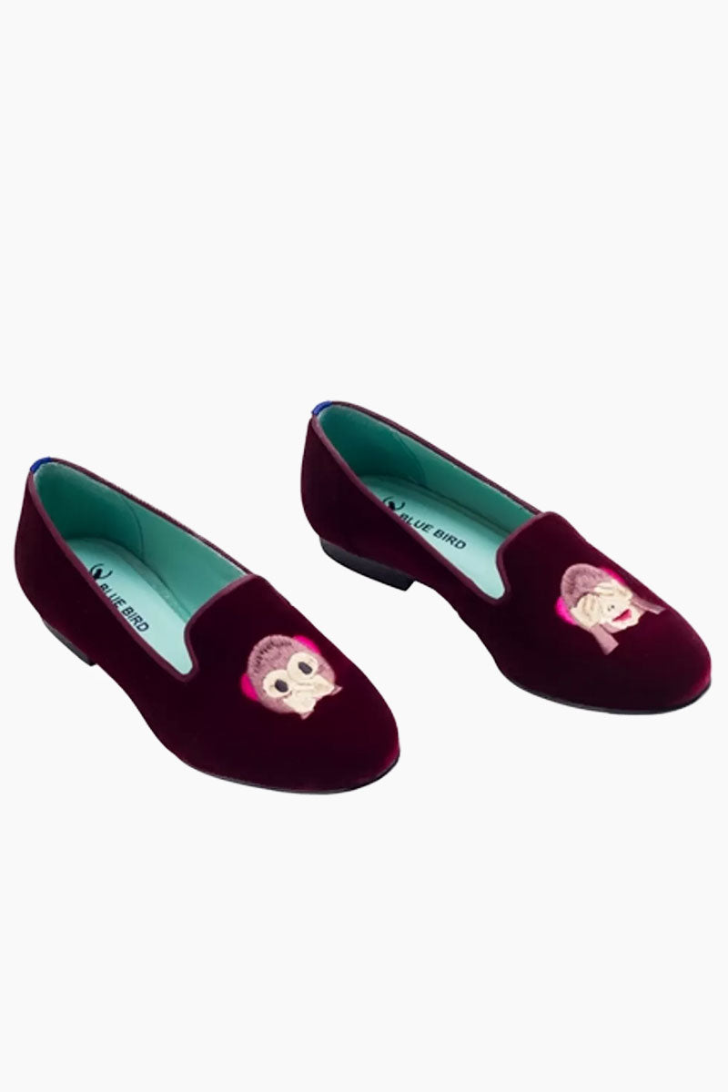 BLUE BIRD Monkey Loafer - Burgundy Shoes | Burgundy| Blue Bird Monkey Loafer - Burgundy.Features:  Adorable and fun monkey Embroidery Produced in Brazil with Italian assembly process Leather lining  Guarantee the maximum comfort of the insole 100% leather sole Heel- 0.5 inches The Blue Bird's are produced with natural leather, from the lining to the sole, guaranteeing its durability. Front View