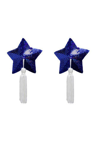 BRISTOLS SIX Gold Couture Betsy Star Tassels - Royal Blue Sequin Accessories | Royal Blue Sequin| Nippies Gold Couture Betsy Star Tassels - Royal Blue Sequin   Out of the Box View