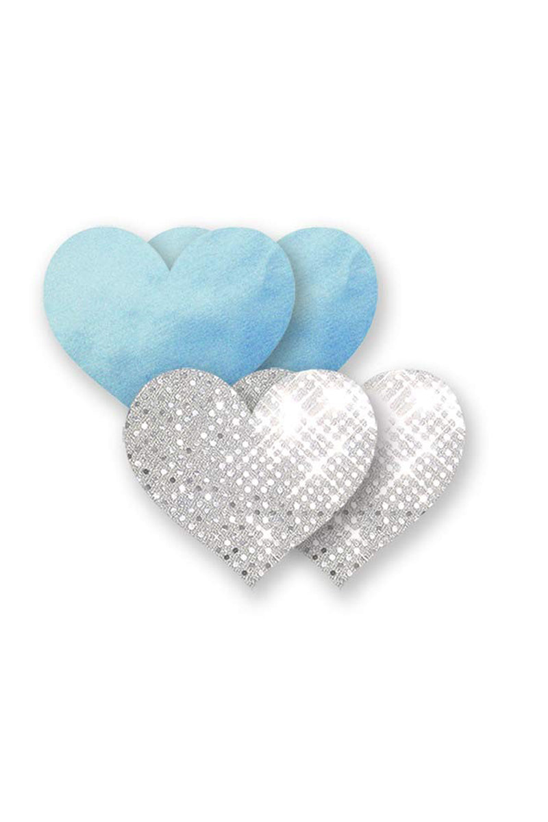BRISTOLS SIX Something Blue Heart - Silver & Blue Accessories | Silver & Blue| Bristols Six Something Blue Heart - Silver & Blue Contains (1) pair blue satin & (1) pair silver mirror point.   form-fitting for wrinkle-free coverage and painless removal Split backing for easy self-application Front View