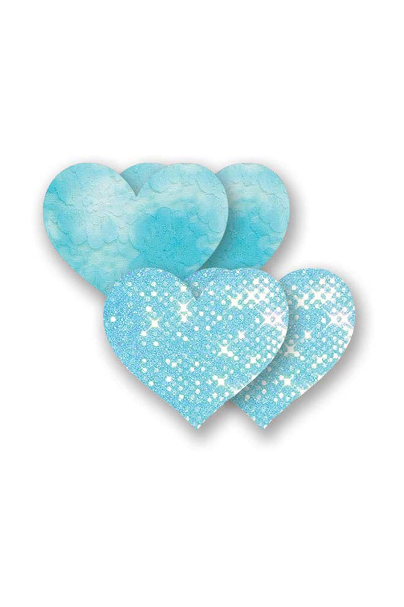 BRISTOLS SIX Majorca Heart - Turquoise Blue Accessories | Turquoise Blue| Bristols Six Bristols Six Majorca Heart - Turquoise Blue One Pair of Turquoise Lace Heart Nipple Covers One Pair of Turquoise Mirror Dots Heart Nipple Covers Four Protective Nipple Pads Made From Real Lingerie Fabric Front View