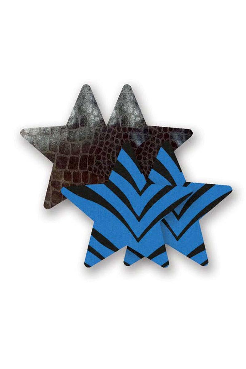 BRISTOLS SIX Runaway Star - Black & Blue Animal Print Accessories | Black & Blue Animal Print| Bristols Six Runaway Star - Black & Blue Animal Print (1) pair black snakeskin & (1) pair black & blue lamé Nipple Covers  Split backing easy self-application  Front View