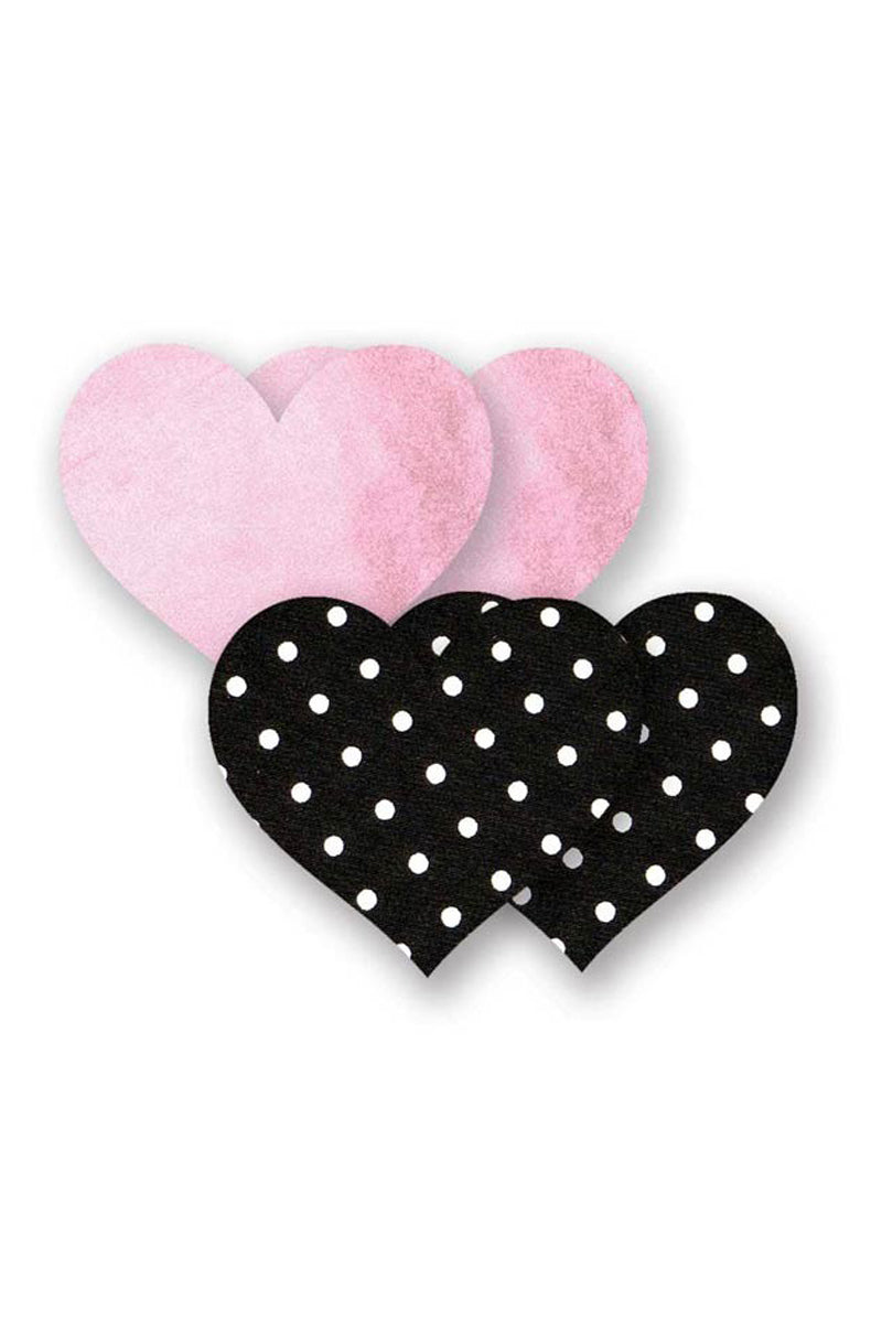 BRISTOLS SIX Pretty In Pink Heart - Pink & Black Polka Dot Print Accessories | Pink & Black Polka Dot Print| Bristols Six Pretty In Pink Heart - Pink & Black Polka Dot Print One Pair of Baby Pink Sparkles Nipple Covers One Pair of Black And White Polka Dots Nipple Covers Four Protective Nipple Pads Made From Real Lingerie Fabric Front View