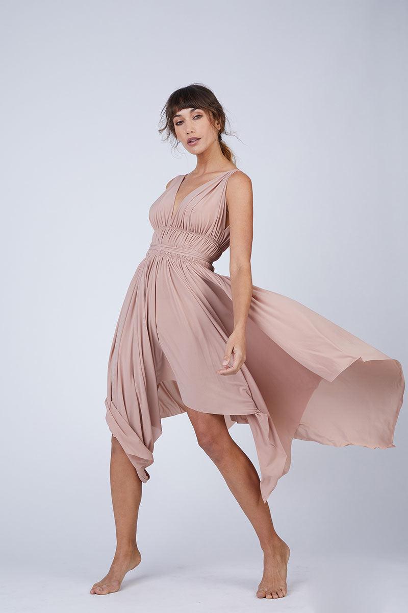 0d1b5cf7d4e86 NORMA KAMALI Goddess Asymmetric Midi Dress - Rose Pink   BIKINI.COM
