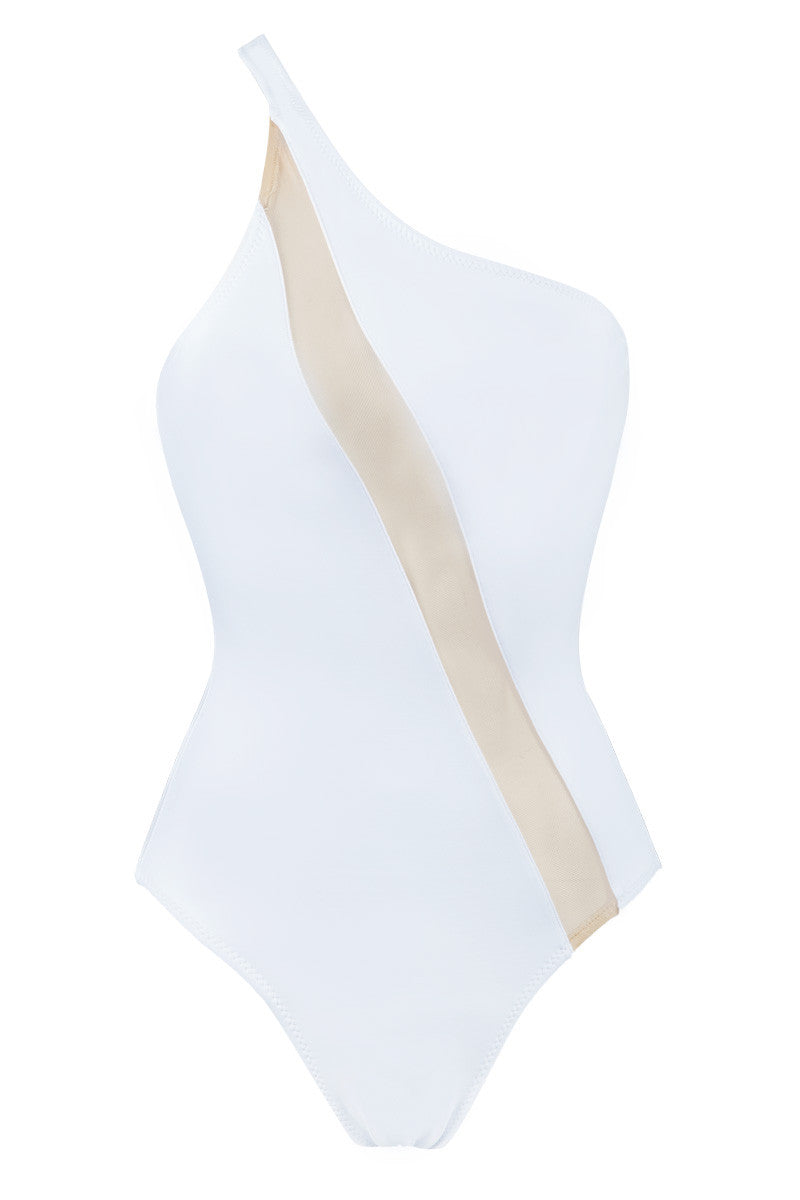 NORMA KAMALI One Shoulder One Piece - White One Piece | White/ Nude Inset| NORMA KAMALI One Shoulder One Piece White. Flat Lay View. Cut on the right shoulder  Asymmetrical neckline Diagonal nude mesh insert across the body from shoulder to hip Moderate coverage  Unpadded 87% Nylon, 13% Spandex