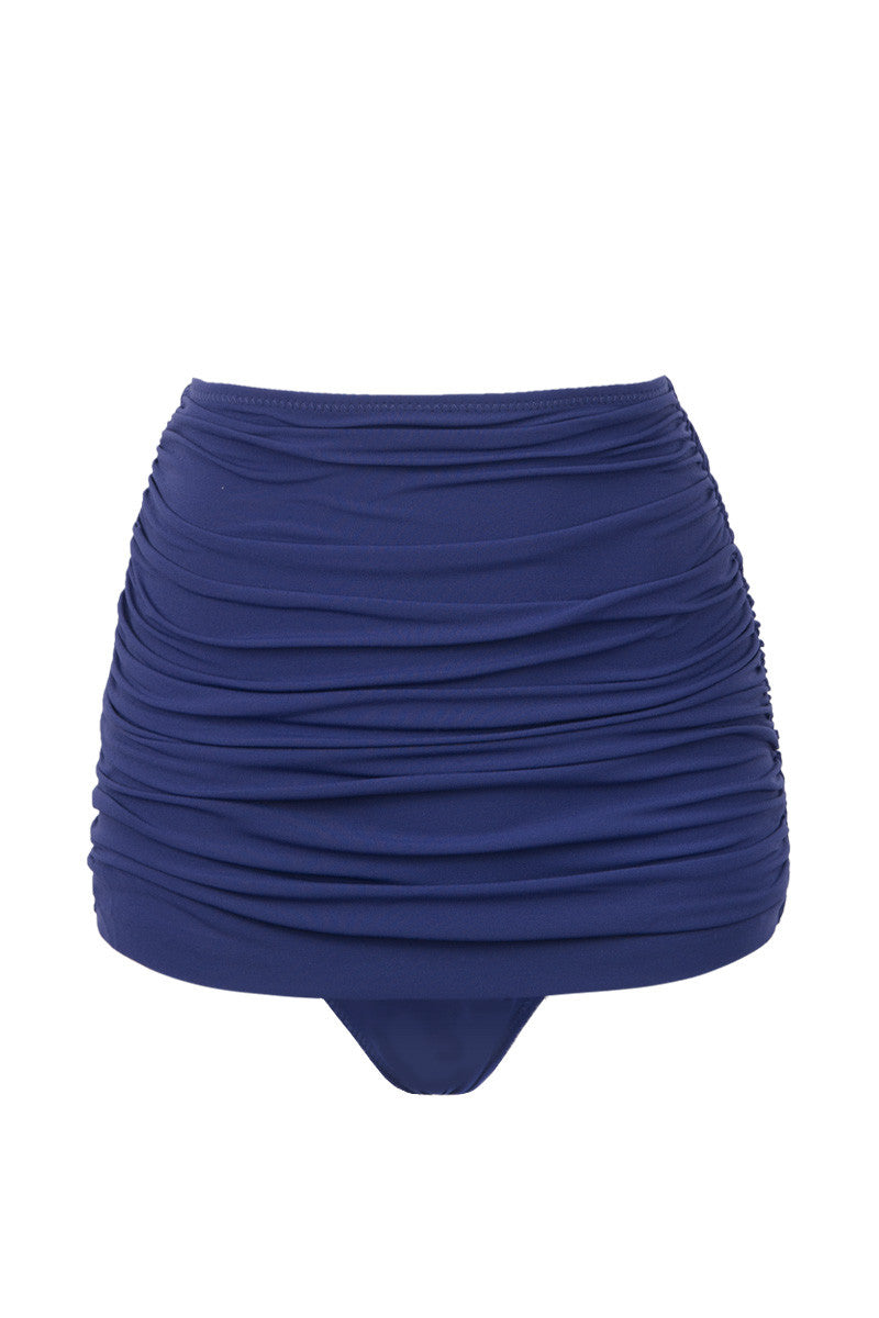 NORMA KAMALI Bill High Waist Bikini Bottom - Midnight Blue Bikini Bottom | Midnight Blue| NORMA KAMALI Bill High Waist Bikini Bottom - Midnight Blue.  Midnight blue high-waisted bikini bottom in luxe ruched swim jersey fabric. All-over shirring and fully ruched hips sculpt and flatter your figure. Retro high waist smoothes your tummy and sculpts an hourglass shape. Underlayer of nylon spandex jersey acts as a base and gives you a brilliant form. Front View.