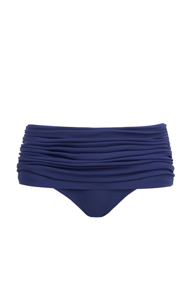 NORMA KAMALI Bill Low Rise Bikini Bottom - Midnight Bikini Bottom | Midnight| NORMA KAMALI Bill Low Rise Bikini Bottom - Midnight. Flat Lay View. Retro-inspired low-rise bikini bottom in luxe ruched midnight blue swim jersey fabric. All-over shirring and fully ruched hips sculpt and flatter your figure. Underlayer of nylon spandex jersey acts as a base and gives you a brilliant form. Skirt-like panels with retro low-cut leg and rear give you full coverage throughout.