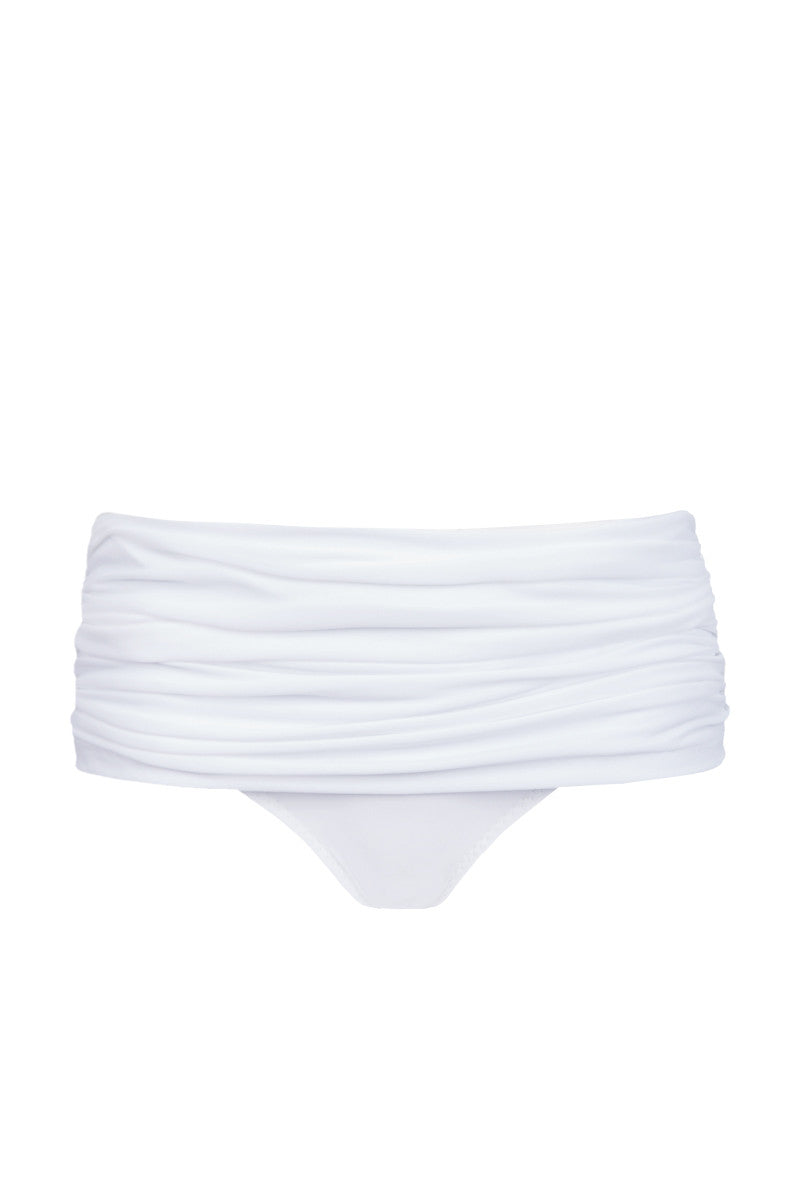 NORMA KAMALI Bill Low Rise Bikini Bottom - White Bikini Bottom | White| NORMA KAMALI Bill Low Rise Bikini Bottom - White. Flat Lay View. Retro-inspired low-rise bikini bottom in luxe ruched white swim jersey fabric. All-over shirring and fully ruched hips sculpt and flatter your figure. Underlayer of nylon spandex jersey acts as a base and gives you a brilliant form.