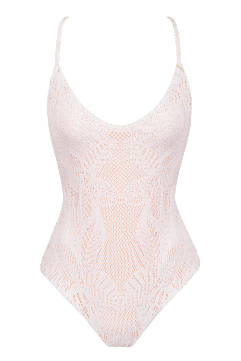 MARA HOFFMAN Low Rise Back One Piece - White Floral Jacquard One Piece | White Floral Jacquard|
